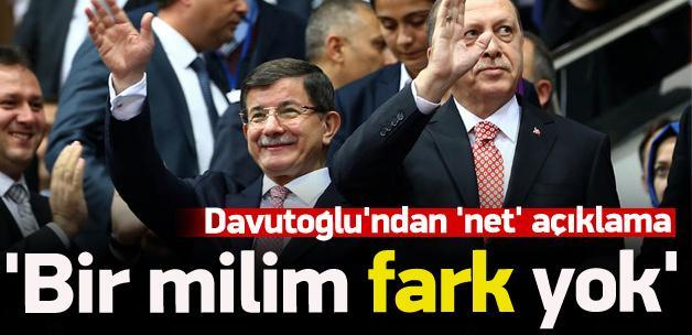 Davutoğlu: Erdoğan ile aramızda milim fark yok