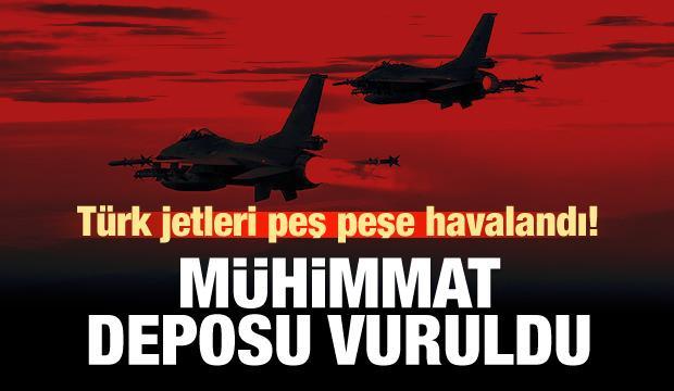 Türk jetleri PKK'nın mühimmat deposunu vurdu!