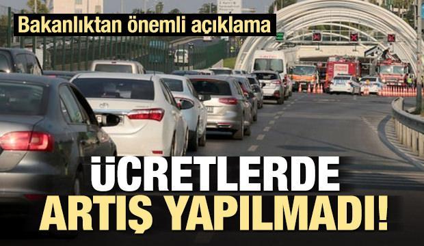 Bakanlıktan Avrasya Tüneli zam açıklaması