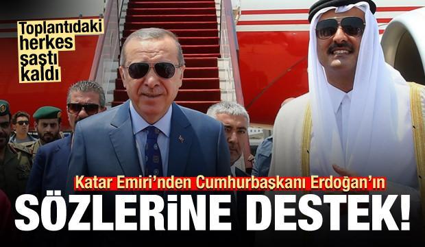 Toplantıdaki herkes şaştı kaldı! Katar Emiri'nden Erdoğan'a destek