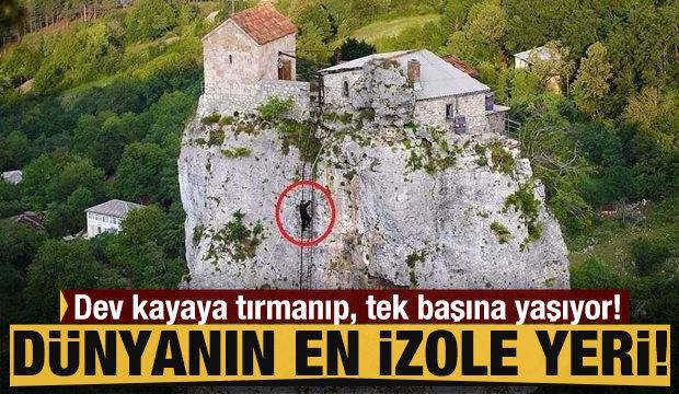 Dünyanın en izole yeri! Dev kayaya tırmanıp tek başına yaşıyor!