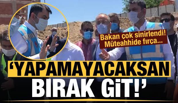 Bakan Kurum görünce çok sinirlendi! Elazığ'daki müteahhide fırça
