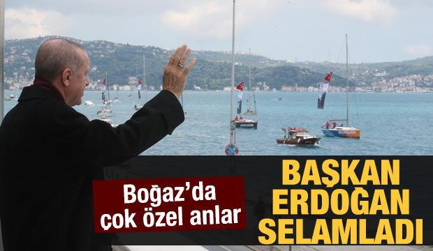 Cumhurbaşkanı Erdoğan Fetih Saygı Geçişi'ni selamladı