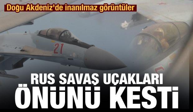 Doğu Akdeniz'de inanılmaz görüntüler! Rus uçağı ABD uçağının önünü kesti