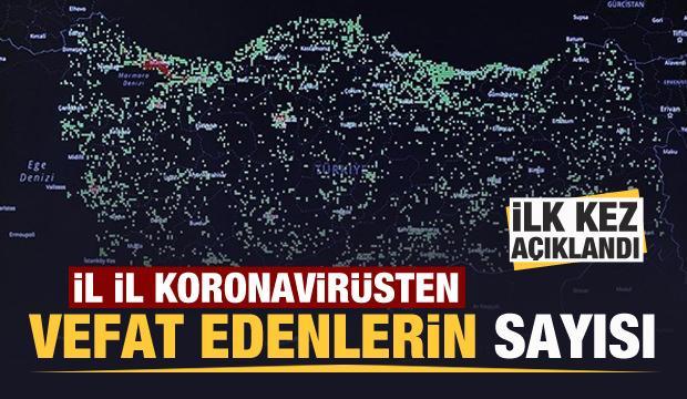 Türkiye'de il il koronavirüsten vefat edenlerin sayısı