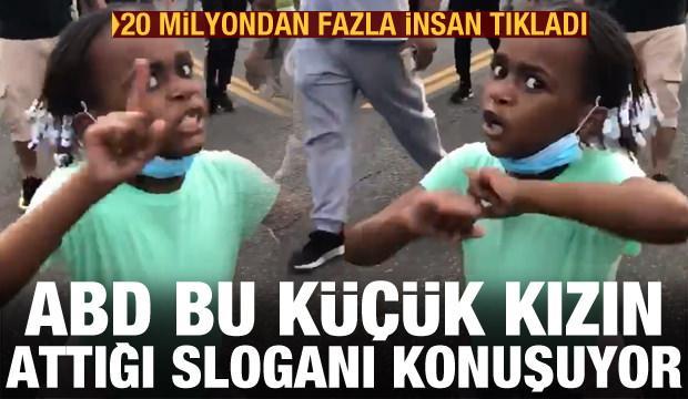 ABD bu küçük kızın attığı sloganı konuşuyor