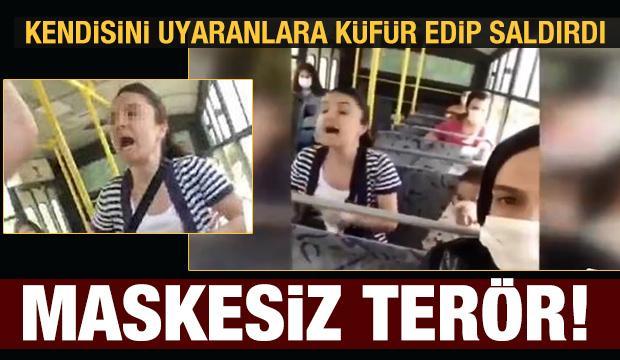 Maske takmayan kadın kendini uyaranlara saldırdı