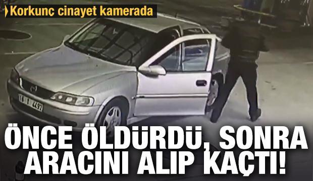 Öldürdüğü şahsın otomobilini alıp kaçan korona virüs maskeli katil zanlısı kamerada
