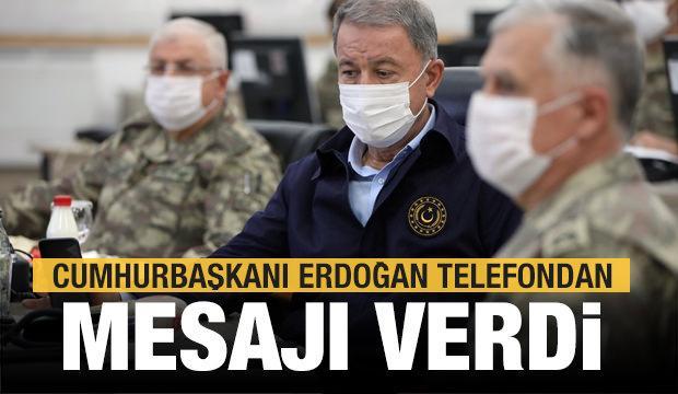 Sınırda telefon trafiği! Erdoğan, Bakan Akar ve komutanlara hitap etti