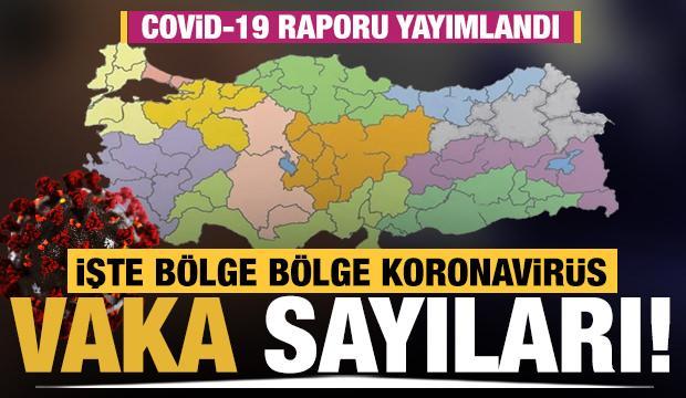 Türkiye'de bölge bölge koronavirüs vaka sayıları (Sağlık Bakanlığı Covid-19 Durum Raporu)