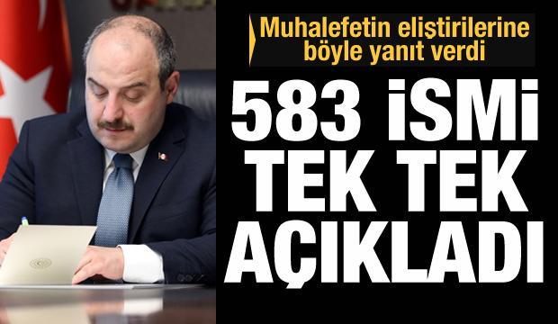 Bakan Varank bu yıl faaliyete geçen 583 üretim tesisinin isimlerini açıkladı
