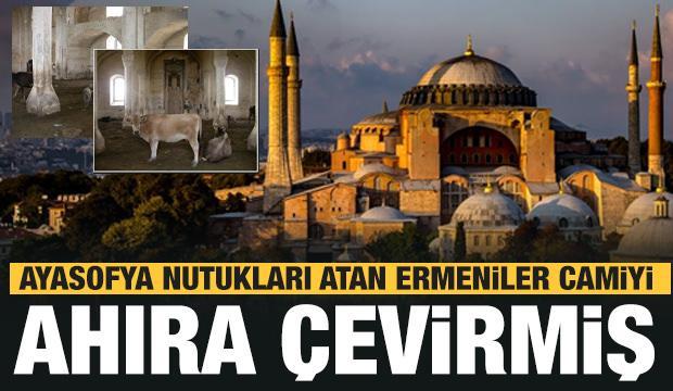 Ayasofya nutukları atan Ermeniler camiyi ahıra çevirmiş! Görüntüler ortaya çıktı