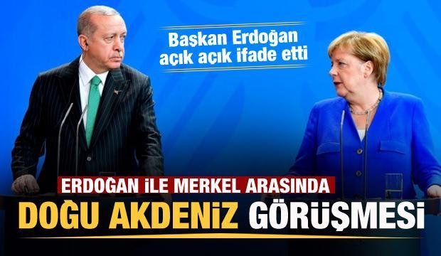Başkan Erdoğan Merkel ile Doğu Akdeniz'i görüştü