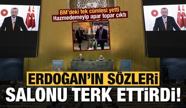 Son dakika: Başkan Erdoğan'ın sözleri BM'de salonu terk ettirdi