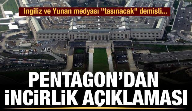 Pentagon'dan incirlik açıklaması (29 Eylül 2020 Günün Önemli Gelişmeleri)