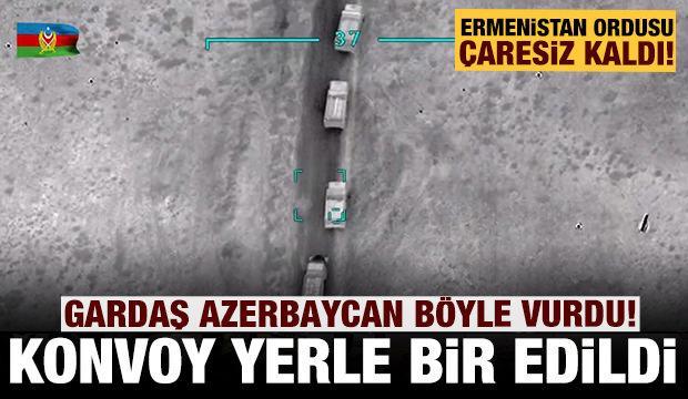 Gardaş Azerbaycan işgalci Ermeni ordusunu vurdu: Konvoy yerle bir oldu!