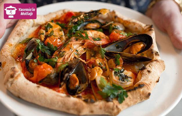 Deniz ürünlü Akdeniz pizza hazırlanışı ve malzemeleri...