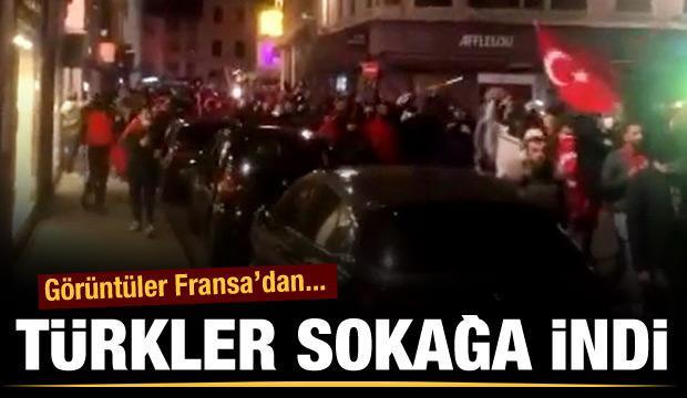 Görüntüler Fransa'dan... Türkler sokağa indi