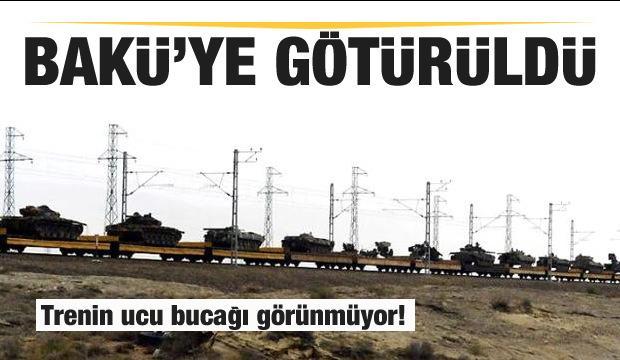 Trenin ucu bucağı görünmüyor! Tank ve toplar Bakü'ye götürüldü