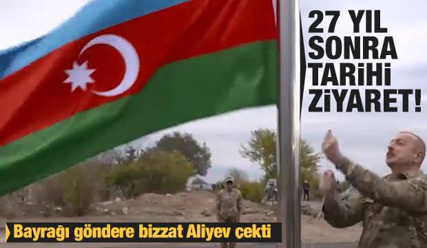 27 yıl sonra tarihi ziyaret! Bayrağı göndere bizzat Aliyev çekti