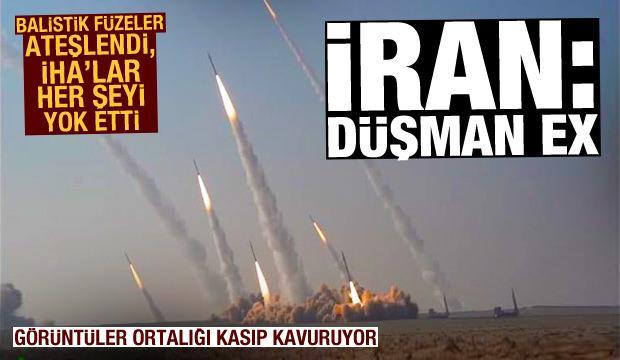 İran balistik füzeler ve İHA'larla düşmanı yok etti