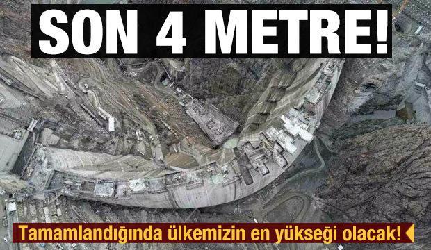 Türkiye'nin en yüksek barajı: Yusufeli Barajı'nda son 4 metre