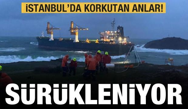 İstanbul'da korkutan görüntü! Gemi sürükleniyor