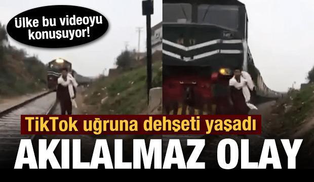 Pakistan'da TikTok videosu çeken gence tren çarptı! O anlar kamerada