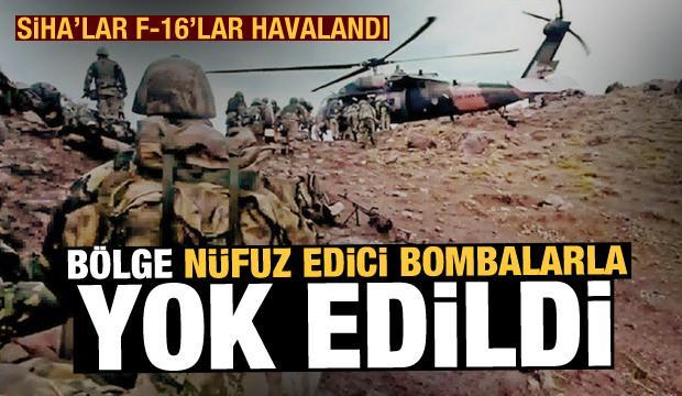 SİHA'lar F-16'lar havalandı! Gara bölgesi nüfuz edici bombalarla PKK'ya dar edildi