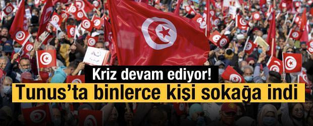 Tunus'ta Nahda Hareketinin 'ulusal birlik' temalı yürüyüş çağrısıyla binlerce kişi sokağa indi