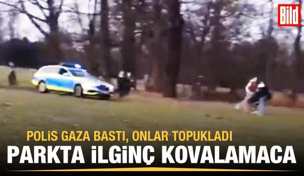 Alman polisi koronavirüs kurallarına uymayanları araçla kovaladı