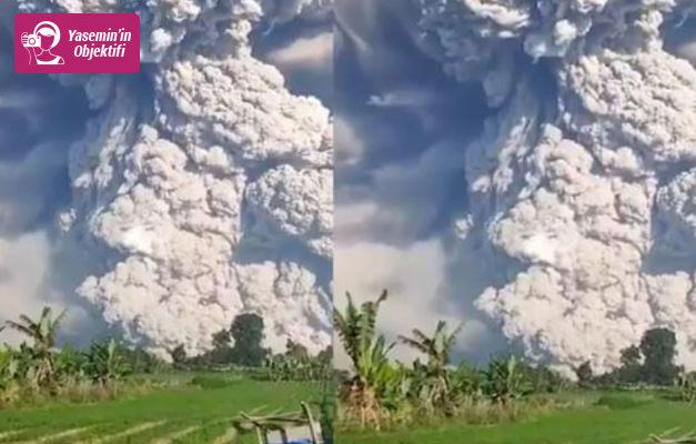 Patlayan volkan sonrası oluşan kül ve duman bulutları!