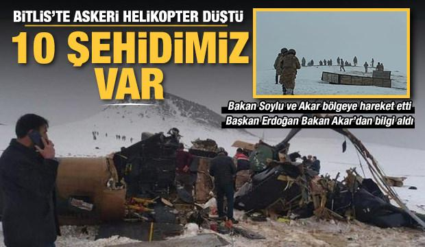 Son Dakika... Tatvan'da askeri helikopter düştü: 10 şehidimiz var