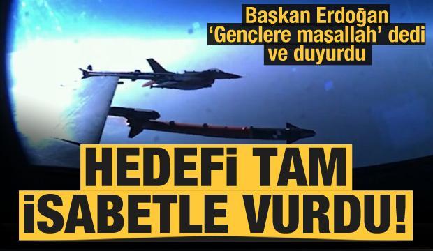 Başkan Erdoğan paylaştı! BOZDOĞAN füzesi ilk atışta hedefi tam isabetle vurdu