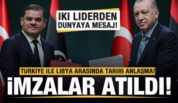 Türkiye ile Libya arasında tarihi anlaşma! Erdoğan ve Dibeybe'den son dakika açıklamaları