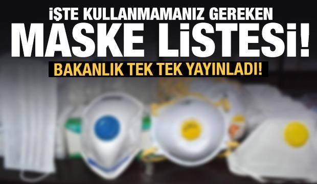 Bakanlık yayınladı! İşte güvensiz olduğu tespit edilen 41 maske