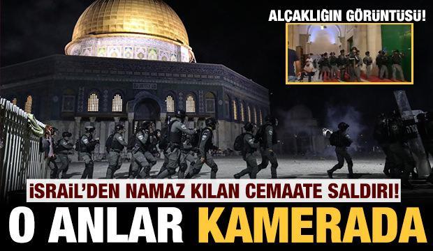 İşgalci İsrail'den namaz kılan cemaate alçak saldırdı: O anlar kamerada