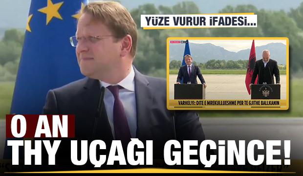 Saraybosna'da AB ile basın toplantısında THY uçağı geçince...