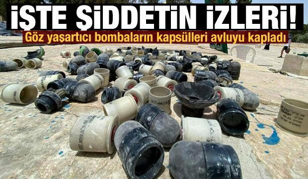 İşgalci İsrail güçlerinin kullandığı bombaların kapsülleri avluyu kapladı