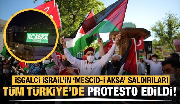 İşgalci İsrail'in Mescid-i Aksa saldırıları tüm Türkiye'de protesto edildi