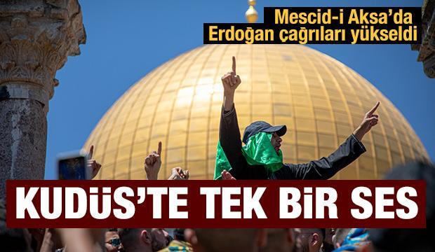 """Mescid-i Aksa'da """"Erdoğan"""" sloganları yükseldi"""