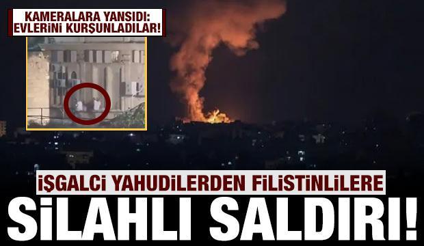 İşgalci Yahudilerden Filistinlilerin evlerine silahlı saldırı!
