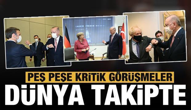 Erdoğan NATO Karargahı'nda! Dünya bu anlara kilitlendi! Biden, Macron ve Merkel...