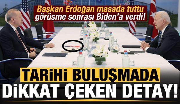 Son dakika: Tarihi görüşmede masadaki dikkat çeken detay! Erdoğan, Biden'a verdi...