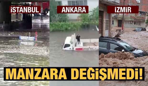 Tüm uyarılara rağmen İstanbul, Ankara ve İzmir yağmura teslim oldu!