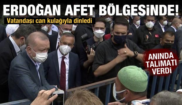 Son dakika haberi: Erdoğan sel bölgesi Rize'de incelemelerde bulundu