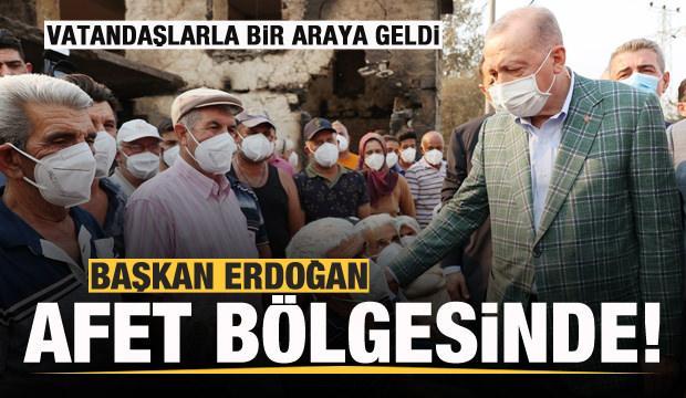 Başkan Erdoğan afet bölgesinde! Vatandaşlarla bir araya geldi