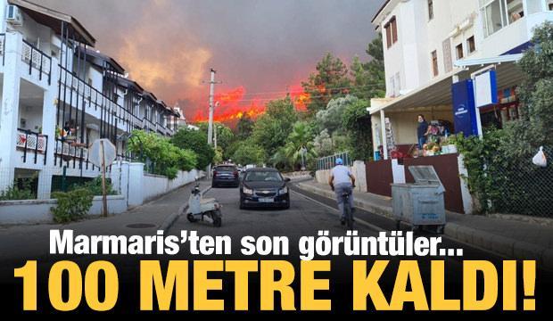 Marmaris'te yangın 100 metre mesafede! Korkutan fotoğraflar...