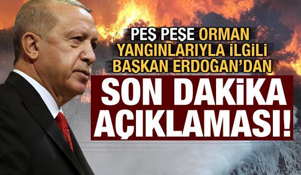 Orman yangınları sonrası Başkan Erdoğan'dan son dakika açıklaması