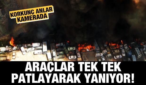 Araçlar tek tek patlayarak yanıyor! Korkunç anlar kamerada